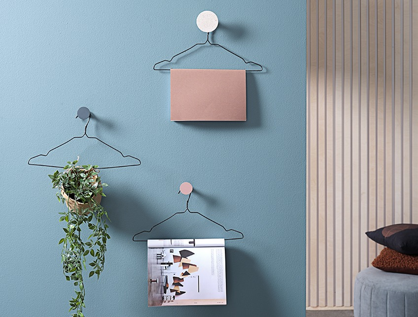 Hangers on a wall with magazines and an artificial plant